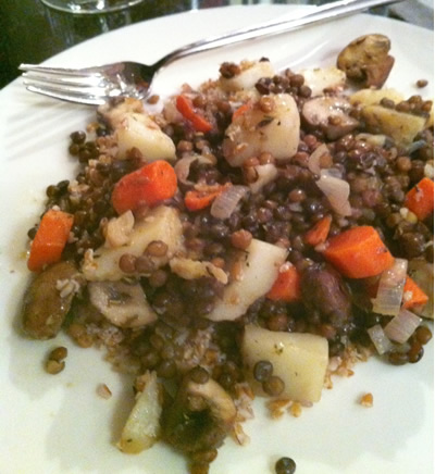 lentil stew with potatoes, carrots and mushrooms (vegan)