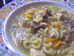vegetarian chicken noodle soup (vegan)