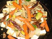 tofu, shitake, carrot & brussel sprout stir-fry