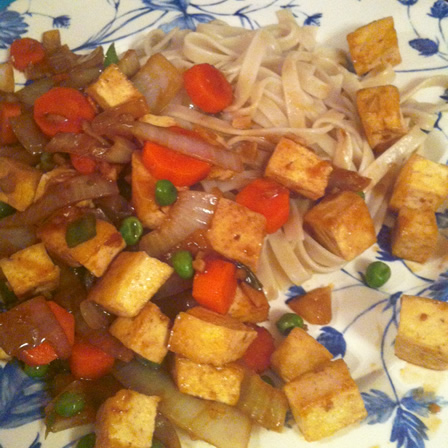 thai tofu in black bean sauce – (vegan, vegetarian)